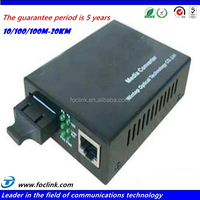 10/100M Media converter, 40KM dual fiber single mode Media converter, sc connector fiber optic Media converter