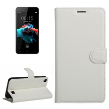 Cheap Price For HOMTOM HT16 Litchi Texture Horizontal Flip PU Leather Case with Holder & Card Slots & Wallet(White)