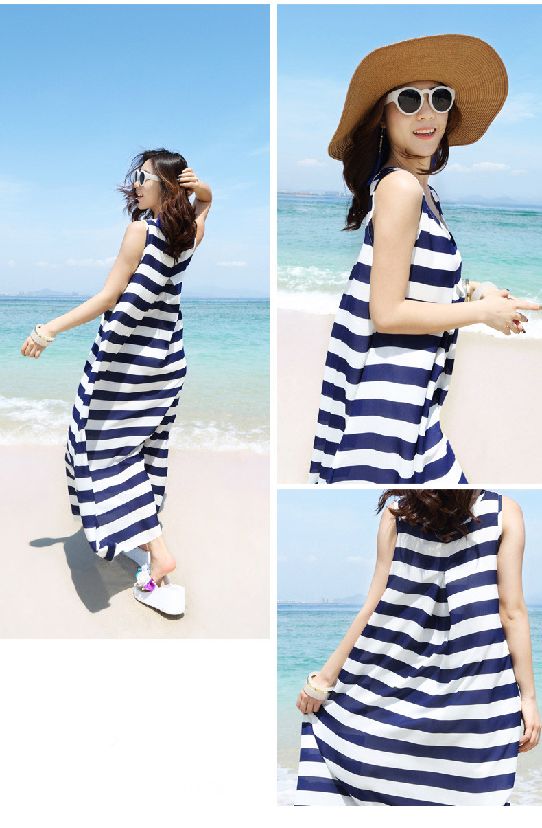 2017 summer latest design Bohemia style stripe beach holiday sleeveless A-line maxi dress China garment factory