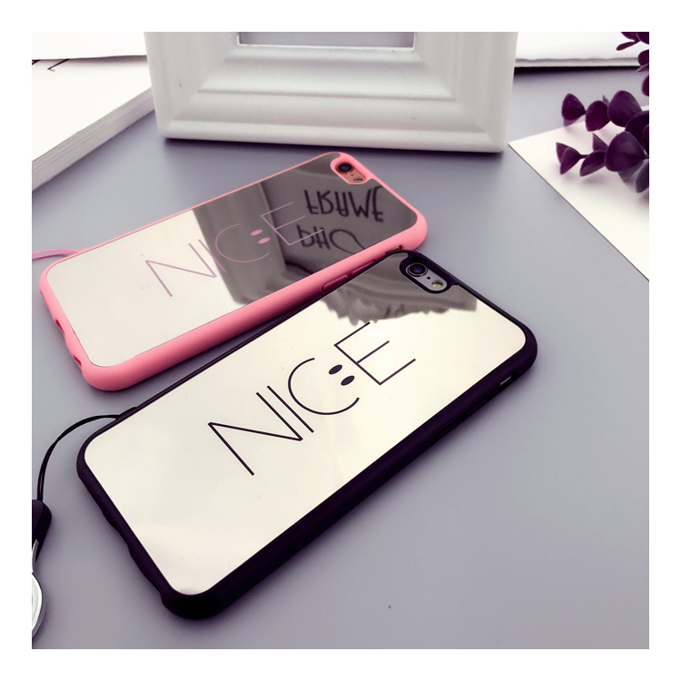 Korean simple letter nice smile face phone case for iphone x,couple mirror case for iphone 6/6s/6plus,soft silicone shell