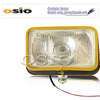 5' square YELLOW IRON 12V/24 H4/HID Engineering head light Halogen Sealed Beam , SEMI-SEALED BEAM,