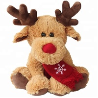 Stuffed Animal Elk Plush Christmas Moose With Red Scarf Fashion New Xmas Gift Custom OEM Cute Kids Plush Reindeer Deer Soft Toy