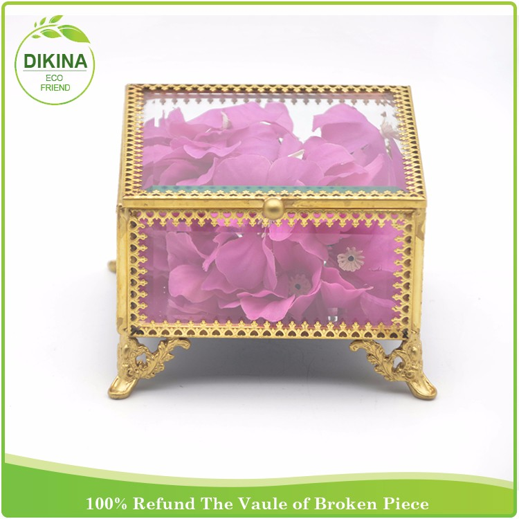 Decorative vintage mini locks jewelry box //High Quality Luxury Wedding Gift brass crystal large jewelry box