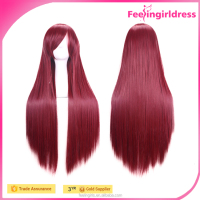 Wholesale 80cm Long Straight Synthetic Women Wig Cosplay