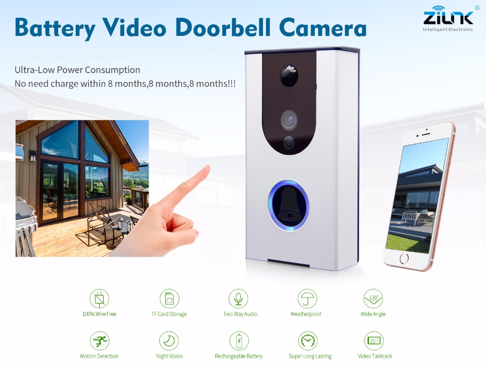 High Quality Night Vision TF Card Recording Android & iOS App Remote Control Battery Doorbell Camera