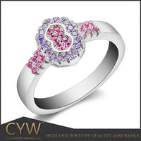 China juwelen supplier colorful diamante nakit silver ring precious jewellery