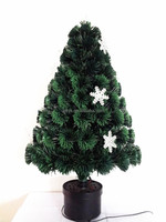 Plastic Snow Ornament Summer Christmas Optic Fiber Tree, Nonflammable Lighting Decoration Xmas Tree
