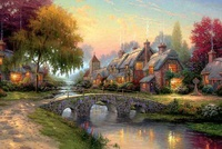 Christmas beautiful landscape paintings, European-style village festivals landscape river water, home wall decoration pictures