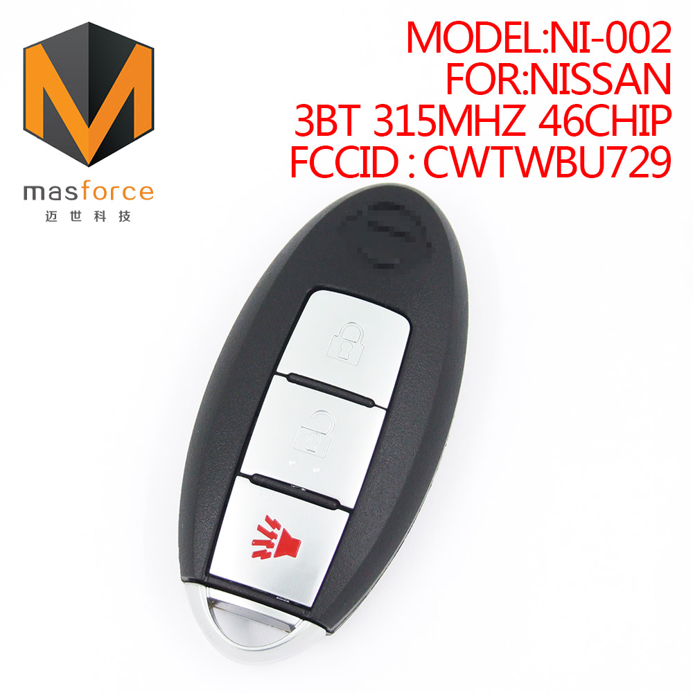 Remote control auto smart card car <strong>key</strong> for Nissan 3button 315MHz ID46 transponder chip FCCID:CWTWBU729