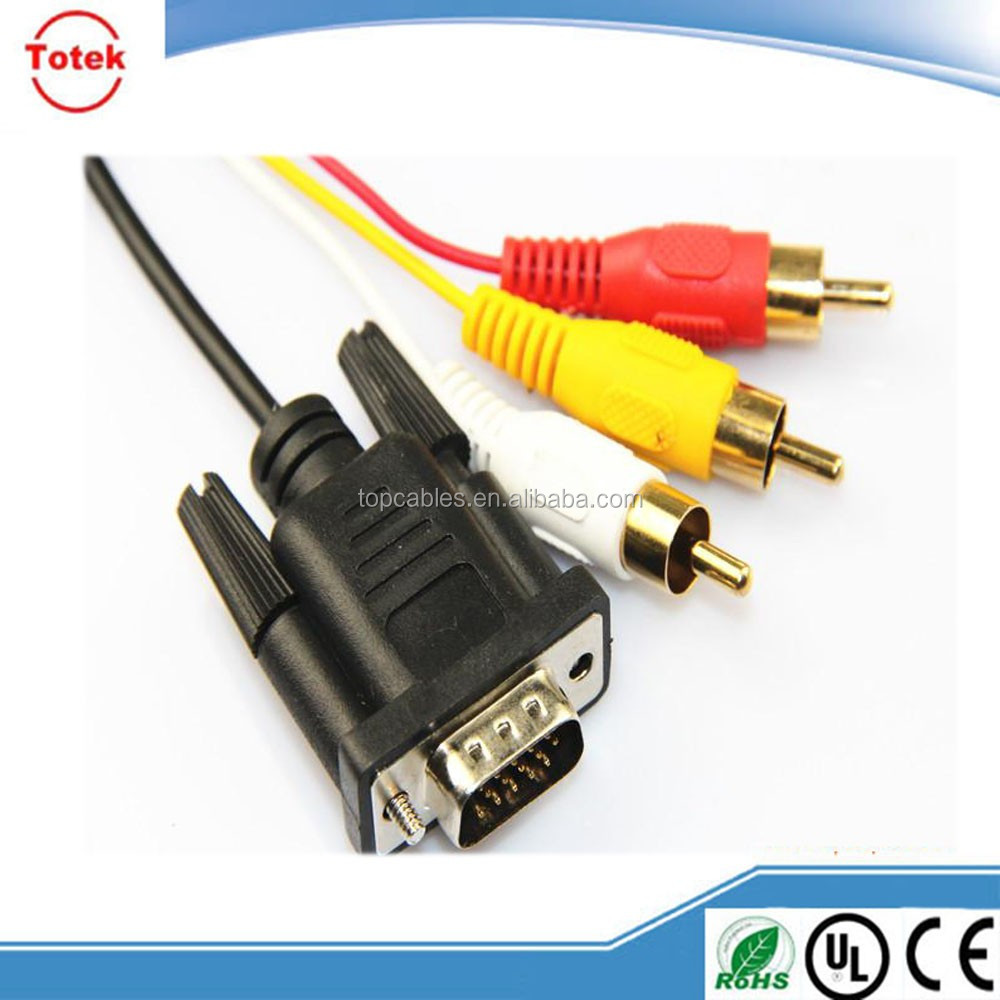 china factory direct sell vga 15pin to 4pin S-video 3 rca cable
