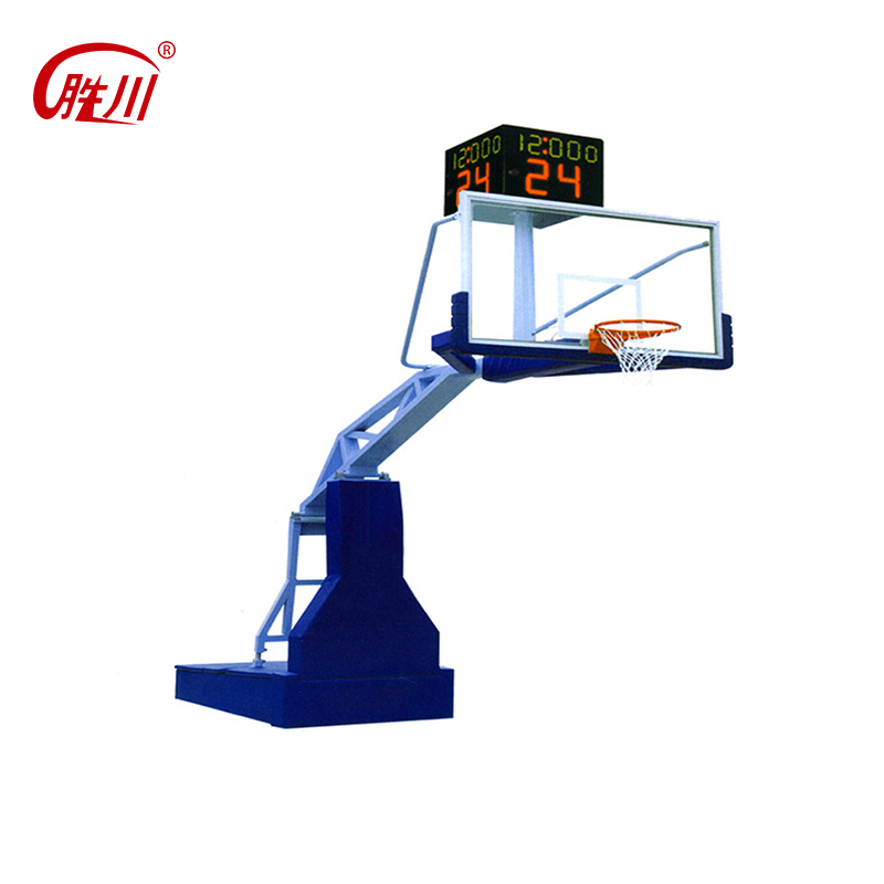 Outdoor adjustable manual hydraulic basketball stands with fiberglass backboard