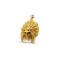American Indian Chief Head 24K Gold Plated Pendant Cuban Curb Chain Necklace Metal Jewelry Wholesale