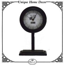 Black Antique Vintage Wrought Iron Metal Stand Tabletop Clock