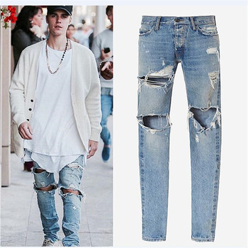 kanye west designer clothes men jeans justin bieber ankle zipper destroyed pants skinny ripped masticate jeans high quality