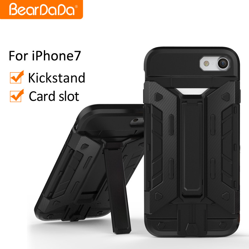 Latest Design phone case for iphone 7 with card slot and stand