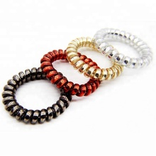 Hot selling Metallic plastic Spiral bracelet telephone cord wrist band spiral band