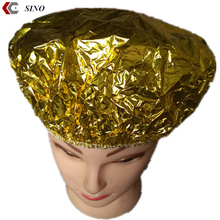 High quality hotel aluminium foil disposaple one off waterproof shower cap microwave heating cap conditioner cap wholesale