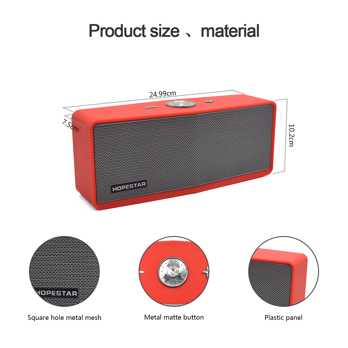 Hopestar series H6-Plus square shape 10 watt mini wireless mba bluetooth speaker with FM, Power Bank