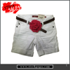 Garment stock quality breathable girls white shorts with belt