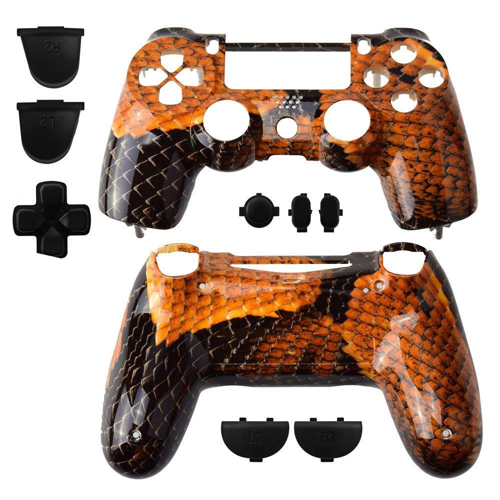 Snake Brown Pattern Series Full Set Controller Shell Skin Replacement for Playstation 4 for Dualshock 4