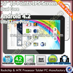 10.1 inch dual core easy touch tablet pc android ips screen