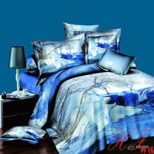 Swan swimming in winter design pure cotton 3d bedding set 4pcs for home