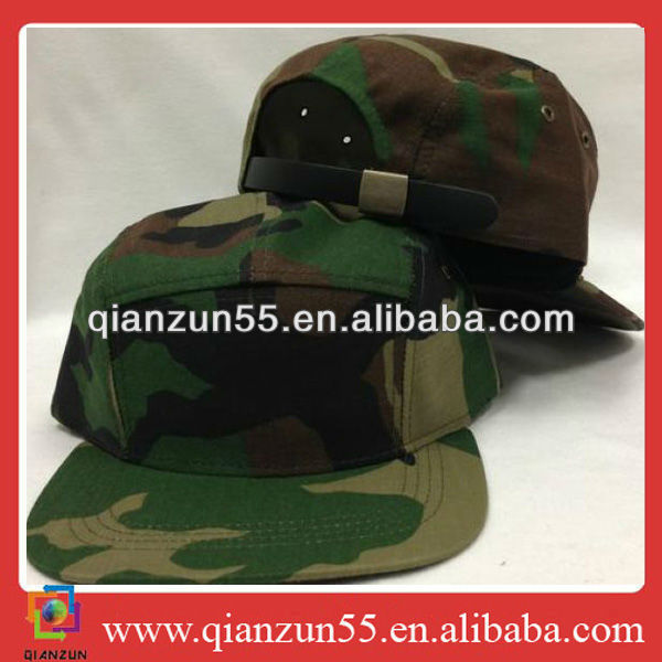 China wholesale manufacturer 5 panel cadet hat camo camouflage leather adj strap military metal back closure cap