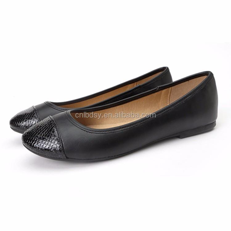 cheap wholesale fashion flat shoes black pu fancy