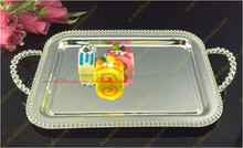 2016 hot sale metal beaded silver plated cake and fruit tray for used wedding table