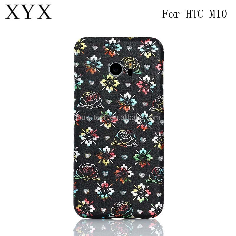 Factory Supply Hard PC Case With Luxury Back Leather Skin Cell Phone Cover Case for HTC One <strong>M10</strong>