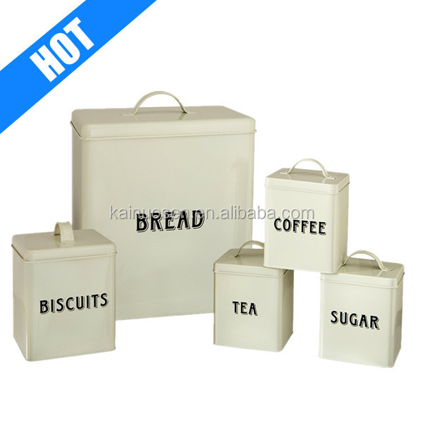 5-Piece Cream bread bin biscuit tea coffee sugar canister set