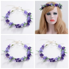 wholesale bridal wedding artificial flower garland/ flower head wreath decorative artificial lavender flower wreath