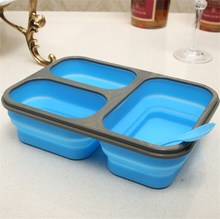 Microwave Safe Silicone Collapsible Lunch Box Leak proof 3 compartment Foldable Silicone Food Container With Lock Lid