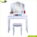 2 Drawer Dressing Table with 3  mirrors and a Solid wood bend stool