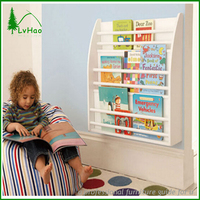 Storage books wall mounted wooden shelf for kids