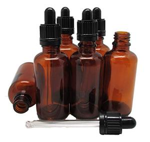 Amber 50g Glass Essential Oil Bottles and Eyed Dropper Black or Gold Caps Makeup Cosmetic Container Bottle