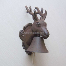 French garden antique cast iron deer head handing door bells