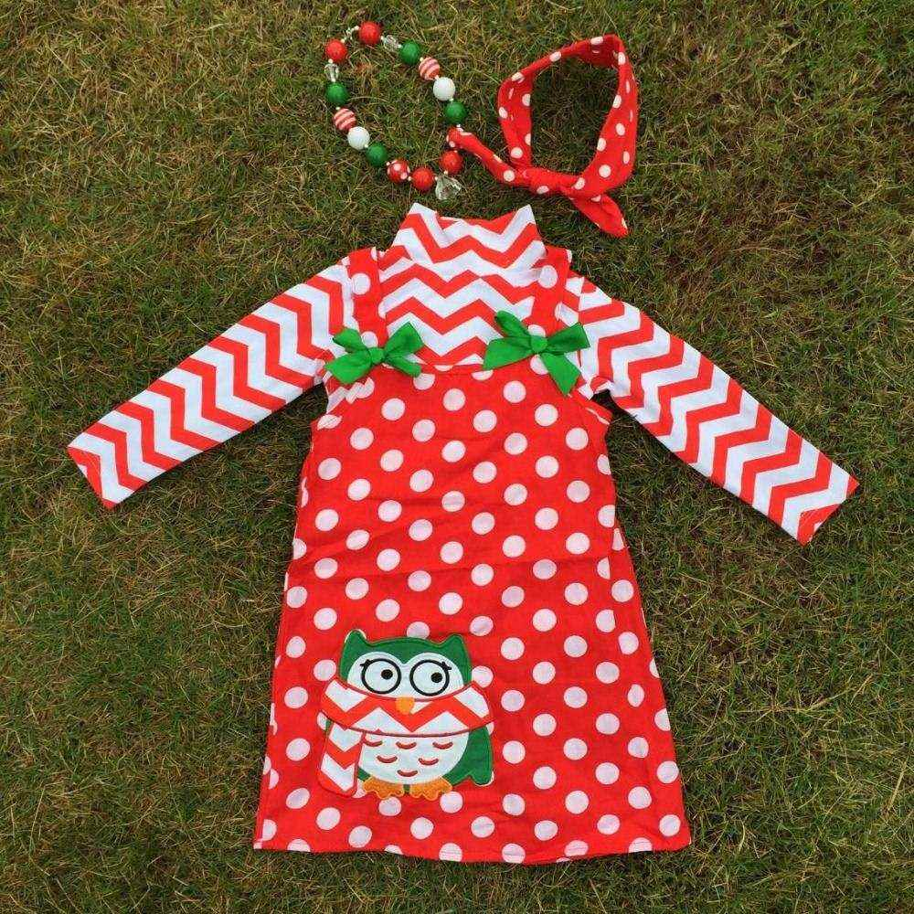 hot sell Christmas dress owl red white dot X-mas red white chevron party dress with matching accessories set