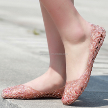 AL2284SW Summer style breathable hollow out women sandals crystal jelly flat sandal casual shoe