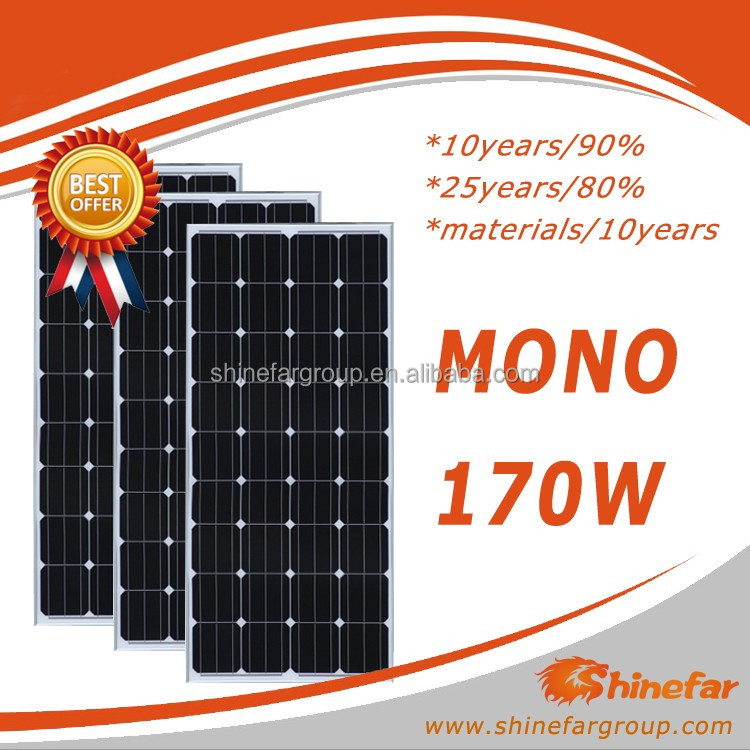 Shinefar Cheap Price Chinese Supplier Mono 150W 160W 170W 180W 190W 200W Solar Panel Kit