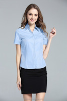 The summer ladies uniform designs short sleeve loose suit office skirts and blouses for wome