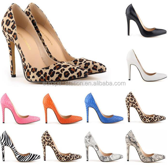 Fashion leopard design ladies shoes 11cm high heel 17colors avaliable UK SIZE 2-9