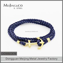 Wholesale Cheap Mens Wrap Custom Engraved Anchor Rope Bracelet