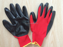 CE approved SRSafety 13 Gauge knitted nylon coated black nitrile gloves/working nitrile glove/safety glove,red gloves,gloves