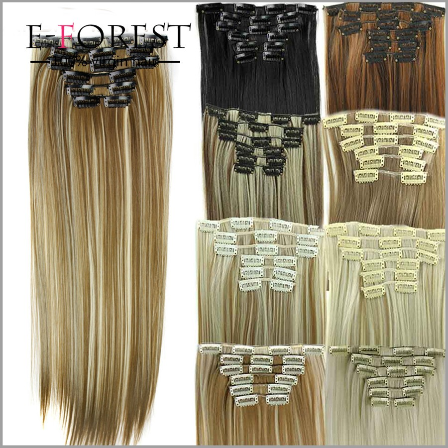 E-forest cheap 100% human hair clip in hair extension for white women silky straight blonde hair extensions