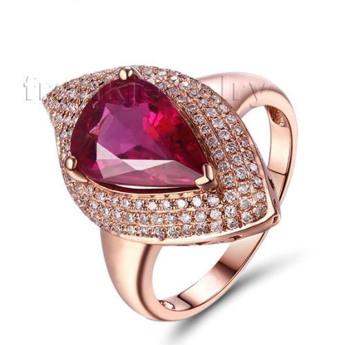 New Trendy Solid 18Kt Rose Gold Pear Cut 9x12mm Tourmaline & Diamond 0.51ct Engagement Ring Pink Natural Stone Jewelry WU258
