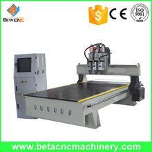 simple atc cnc milling router machinery with three heads for wooden door