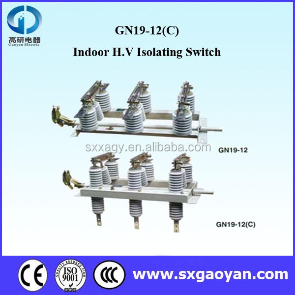 GN19-12 Indoor of 3 Poles A.C. H.V. Disconnect Switch/ Isolating Switch
