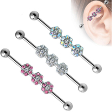 38mm Crystal Flower Fake Ear Barbell Industrial Body Piercing Studs Design Jewelry