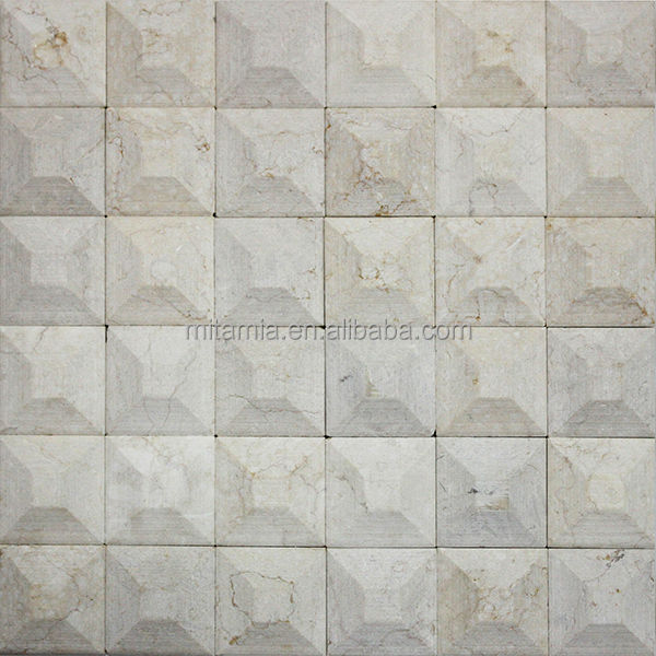 manufacturer beige natural marble stone mosaic five facets decorative walltile